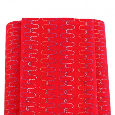 tela japonesa bordad rojo ondas